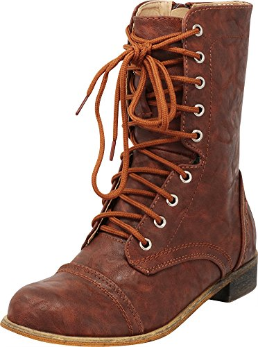 Cambridge Select Women's Closed Round Toe Lace-Up Chunky Low Heel Mid-Calf Combat Boot Cognac Pu