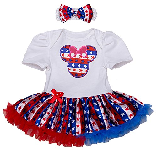 StylesILove Infant Toddler Girl 4th of July US Flag Holiday Short Sleeve Romper Tutu Skirt Headband 2pcs Set