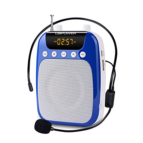 DBPOWER 15 Watts Voice Amplifier and FM Radio MP3 with Comfortable Headset Waist Neck Band and Belt Clip for Teachers Tour Guides Coaches Support Recording TF Card and U disk-Blue by DBPOWER