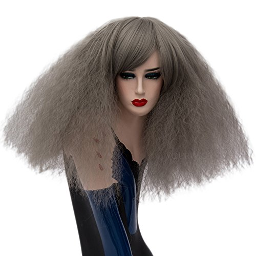 ELIM Short Curly Grey Cosplay Wigs Fluffy Halloween Costume Wigs Synthetic Hair Oblique Bangs for Women with Wig Cap Z79A