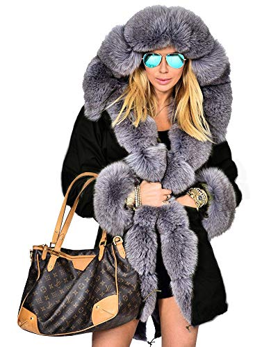 Aofur Womens Hooded Faux Fur Lined Warm Coats Parkas Anoraks Outwear Winter Long Jackets (Large, Black Grey Fur)