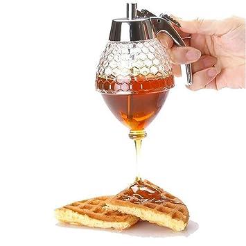 Dispensador de miel y zumo de acrílico transparente de 200 ml para almacenar jarabes, especias