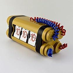 Metal frame motion flip clock/ the living room desk clock/ gears to turn the alarm clock-C