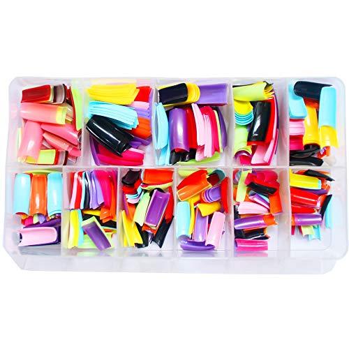 Halloween Acrylic Nail Designs (AORAEM 500 Pcs 10 Color French False Acrylic Gel Nail Art Tips Half with)