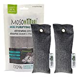 Mini Moso Natural Air Purifying Bag 2 Pack Bamboo Charcoal Air Freshener, Deodorizer, Odor Eliminator, Odor Absorber For Shoes, Gym Bags and Sports Gear Charcoal Color