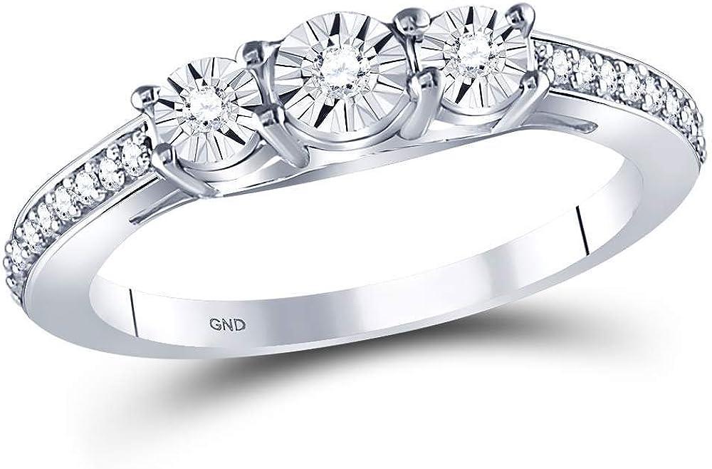 Diamond 3-stone Engagement Ring Wedding Anniversary 1//6ct 925 Sterling Silver