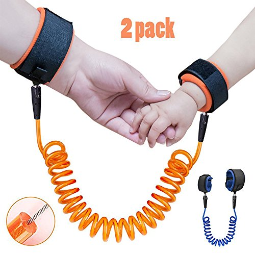 Anti Lost Wrist Link Child Harness Leash [2 pack] - Skin Friendly, Adjustable, Durable Child Safety Harness, Double Velcro Cotton Wrist Strap for Toddlers, Kids, Babies, 1.5m & 2.5m [Blue & Orange]
