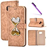 S7 Case,Galaxy S7 Case,LEECOCO 3D Bling Glitter Flowing Quicksand Wallet Cover Business Card Holder PU Leather Kickstand Wallet Protective Case for Samsung Galaxy S7 Hourglass Gold