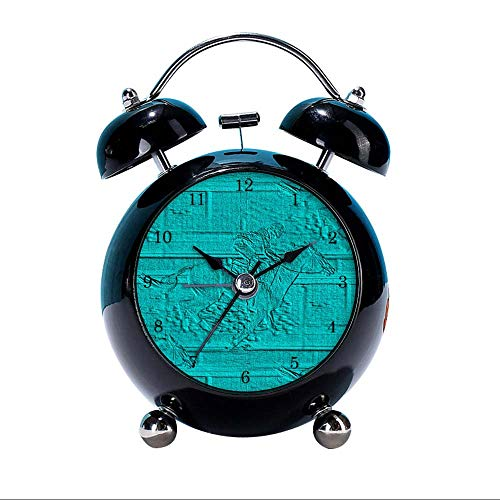 GIRLSIGHT Cute Color Alarm Clock, Round Horse Desk Clock with Night Light Teal Etched Look Horse Racing Silhouette Bedroom Decorations(Black)