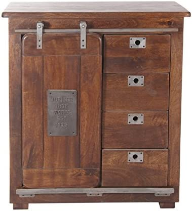Treasure Trove Accents Four Drawer One Door Cabinet, Warm Brown Mango