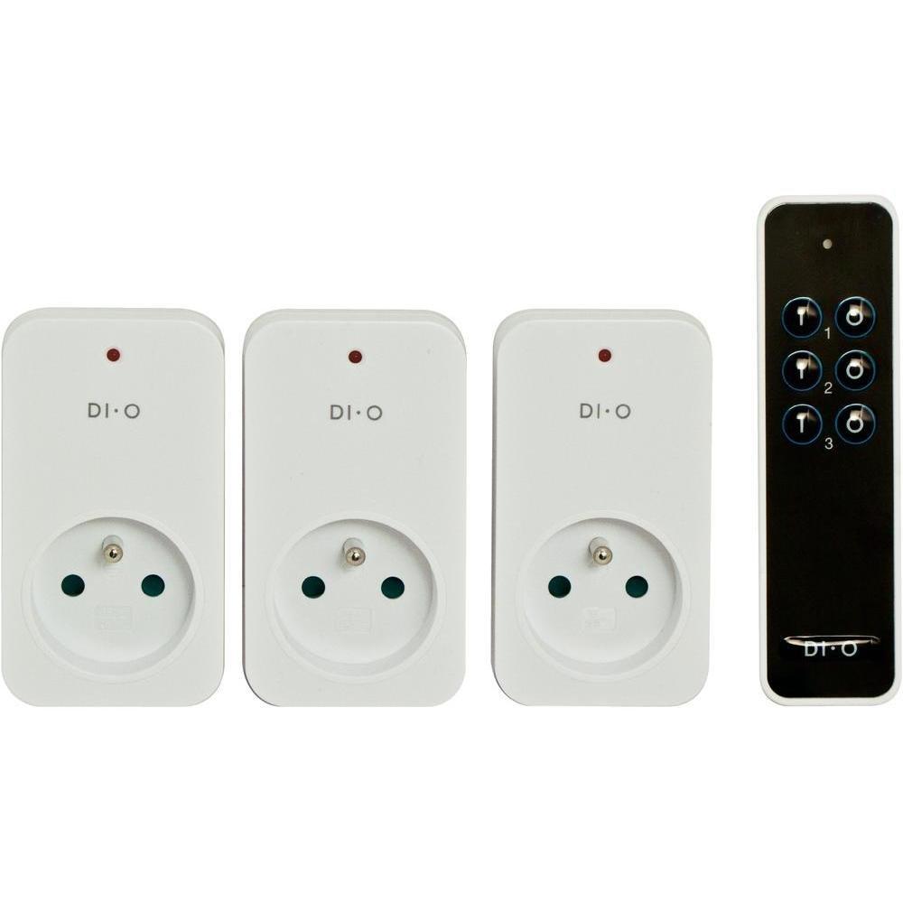 DiO Connected Home 3 prises té lé commandé es ON/OFF 2300W + té lé commande 3 canaux DI-O First (Chacon 54795) DIV006500