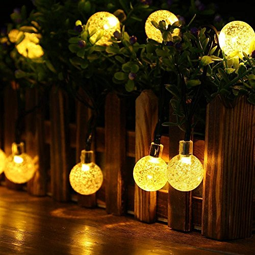 String Lights Solar 8 MODEL 20 ft 30LED Globe Outdoor Lighting for IndoorChristmas Home Patio Lawn Garden Wedding Party Decorations (warm white) -
