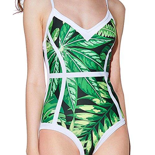Hot Sale!Womens One Piece Swimwear,HGWXX7 Bikini Push-Up Padded Leaves Print Bathing Backless Beachwear Swimsuits (M, Green-2) (Bikini Swimsuit Sale)
