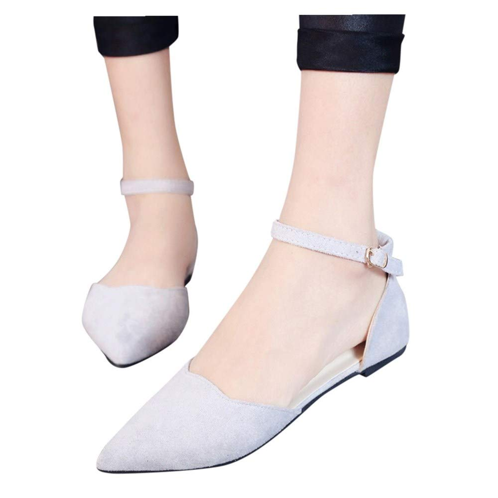 Women's Summer Sandals Closed Pointed Toe Buckled Strap Ballet Flat Ankle Strap Shoes (White -6, US:7.0)