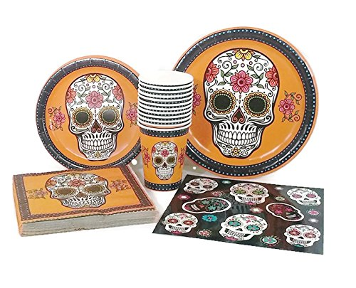 Day of the Dead (Dia de Muertos)/Halloween Party Supply Pack Dinner u0026 Dessert Plates Napkins Cups u0026 Skull Decals Serves 12 Guests - Buy Online in Oman.  sc 1 st  Desertcart Oman & Day of the Dead (Dia de Muertos)/Halloween Party Supply Pack: Dinner ...