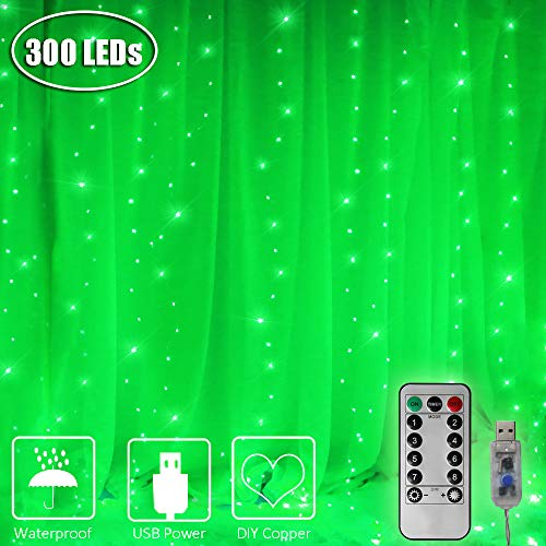 Green Halloween Icicle Lights - ASmile 8 Modes Copper Curtain Lights