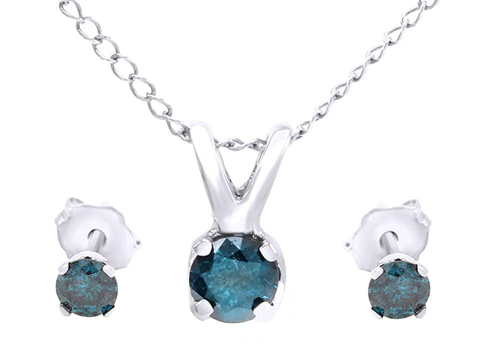 Round Cut Blue Natural Diamond Solitaire Pendant /& Studs Earrings Set In 10K Solid Gold 3//4 Cttw