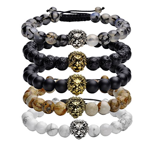 JOVIVI 8mm Handmade Lion Head Macrame Adjustable Lava/Matte Agate/Picture/Dragon Stone Gemstone Beaded Bracelet,Unisex