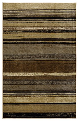 (Mohawk New Wave Rainbow Neutral Striped Printed Area Rug, 5'x8', Tan)