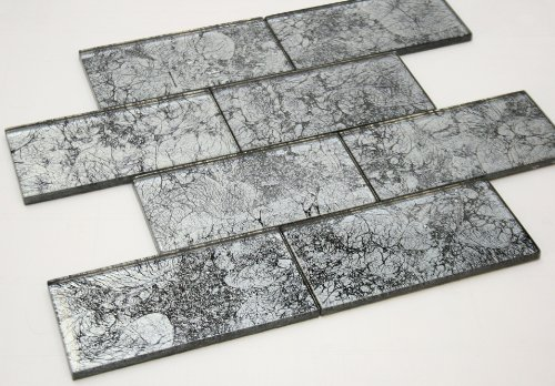 Silver Crest - Galaxy Series 3 x 6 Silver Color Glass Tile