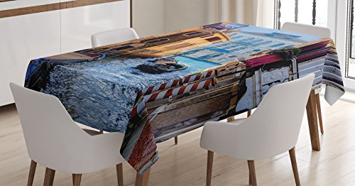 (Ambesonne Wanderlust Decor Tablecloth, Canal in Venice Italy Landmark Historical Famous Holiday Destinations of The World, Dining Room Kitchen Rectangular Table Cover, 60 X 90 Inches, Blue Brown)