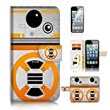 ( For iPhone 5 5S / iPhone SE ) Flip Wallet Case Cover and Screen Protector Bundle A8488 Starwars BB8