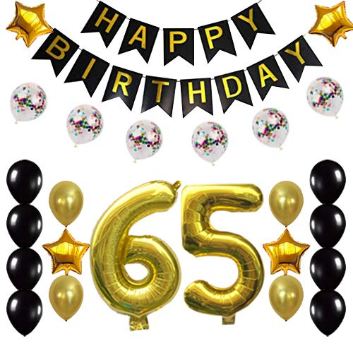 65th Birthday Decorations Party Supplies Happy 65th Birthday Confetti Balloons Banner and 65 Number Sets for 65 Years Old Party(Gold)