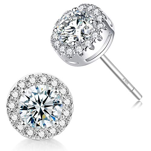 Halo CZ Stud Earrings - 18k Gold Plated Stunning Cubic Zirconia Sparkle Earrings for Women Girls. (18k Gold Ornament)
