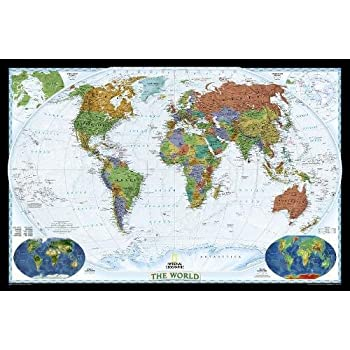 Amazon national geographic world executive map enlarged national geographic world decorator wall map laminated 46 x 305 inches national geographic reference map gumiabroncs Gallery