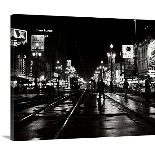 Great Big Canvas Gallery-Wrapped Canvas Entitled 1950's Night Scene Canal Street New Orleans Louisiana USA - Scene 1950's Street
