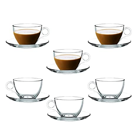 9b2b1eed34 Amazon.com | Coffee Cup Glass Teacup, Clear and Lightweight Glass Tea and Coffee  Cup with Saucer(Set of 6) Gift Box: Cup & Saucer Sets
