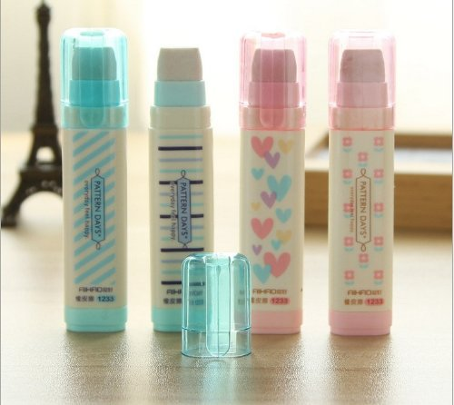 Creative writing stationery three layers erasers 4pcs (Cute Erasers For Girls)