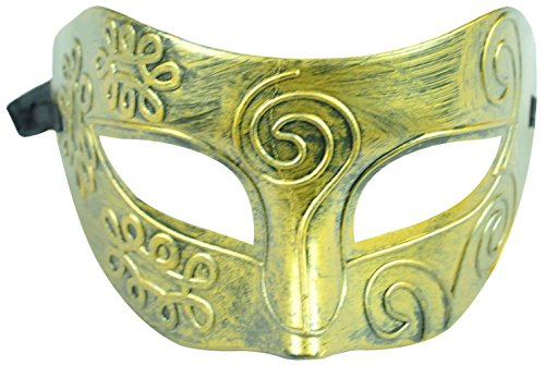 [Simplicity Unisex Roman Gladiator Masquerade Costume Eye Mask, 2242_Gold] (Pug Batman Costume)