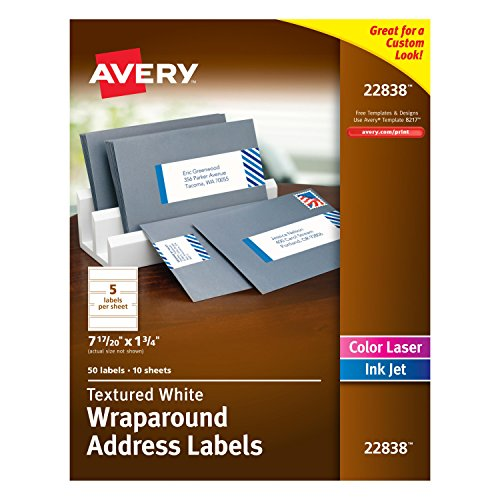 Avery Textured White Wraparound Labels, White, 7.85 x 1.75 Inches, Pack of 50 (22838) -