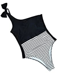 3f46f429fea1 One Piece Swimsuit ♥Women Girl One Shoulder Striped Jumpsuit Lace Color  Block Sexy Monokini Bathing
