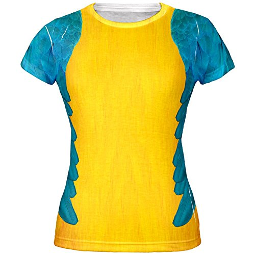 Halloween Blue & Yellow Parrot Macaw Costume All Over Juniors T-Shirt - Small -