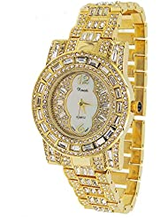 Wow Ladies / Men 18k Gold Plated Bling Watch Made with Swarovski Elements