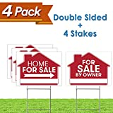 """For Sale By Owner Sign - 4 Premium Yard Signs Bulk Pack - 18"""" x 24"""" Inches - Large Directional Arrows - Double Sided Real Estate Sale Stand Post with H Wire Stakes - Realtor Agents Supplies (Red)"""