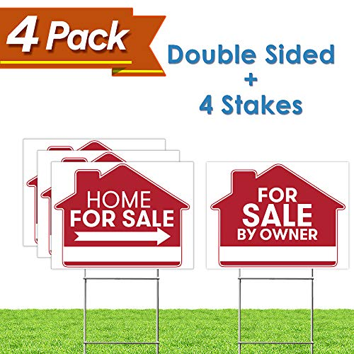For Sale By Owner Sign - 4 Premium Yard Signs Bulk Pack - 18 x 24 Inches - Large Directional Arrows - Double Sided Real Estate Sale Stand Post with H Wire Stakes - Realtor Agents Supplies (Red)