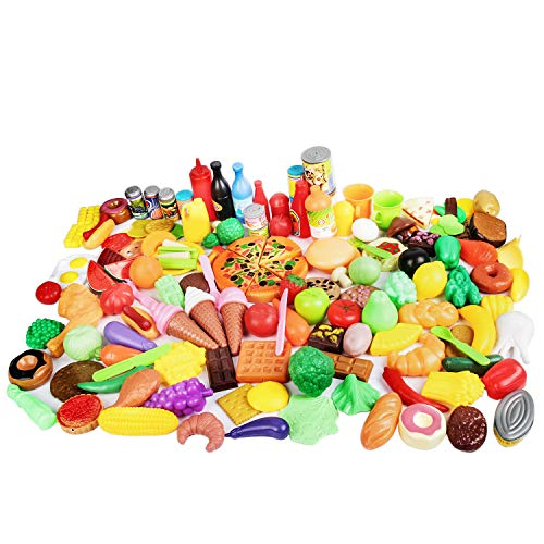 CatchStar Play Food Durable Pretend Food Plastic Vegetable Toy Set for Kids Toddlers Play Kitchen Playset Accessories Gift Toy 155 Piece (Best Food For Toddlers Growth)