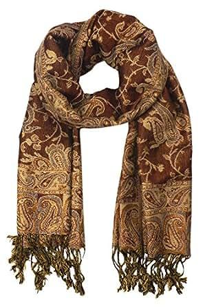 Peach Couture Elegant Reversible Paisley Pashmina Shawl Wrap (Brown)