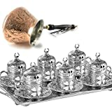 25 Pieces Espresso/Turkish Greek Arabic Coffee Full Set for 6 Persons // Silver Leaf Clover Design Bundle with Unique Hammered Copper Coffee Pot (SRT-AC Series Cezve)