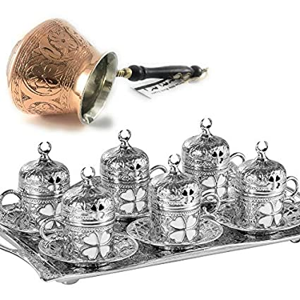 944971e7193 25 Pieces Espresso/Turkish Greek Arabic Coffee Full Set for 6 Persons //  Silver