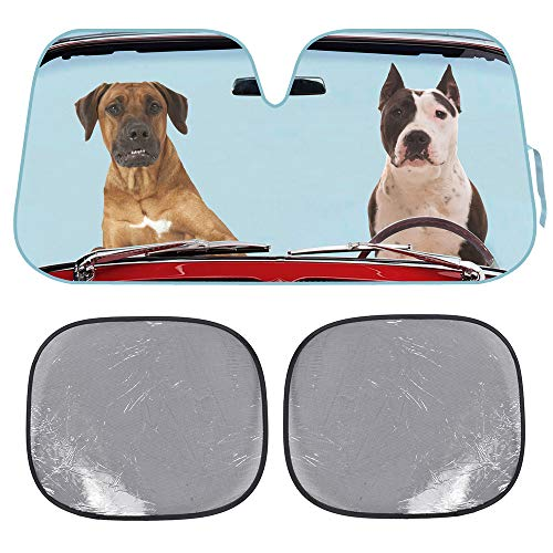 BDK 2 Dogs Auto Windshield Sun Shade w/Side Sunshades for Car SUV Truck - Pet Pals - Double Bubble Foil Jumbo Folding Accordion