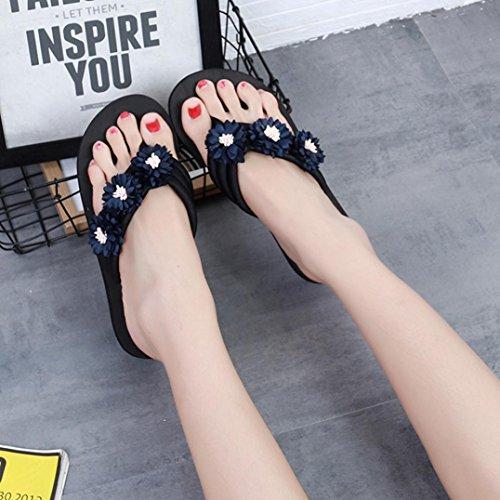 Beautyjourney Tongs Minceur Chaussures à Plats Spartiate Spartiates Femmes Fleur Pantoufle Talons Bleu Talon Sandales DéRapage Sandale Sandales Anti Plage RtEwrnTqR