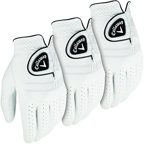 Callaway Golf 2016 Mens Tour Authentic Leather Glove - LH (3 Pack) - White - M by Callaway