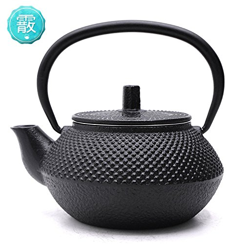 TOWA Workshop Cast Iron Teapot Tetsubin Iron Metal Teapot Hobnail Hand-size 0.35L with Removable Stainless Steel Infuser Black