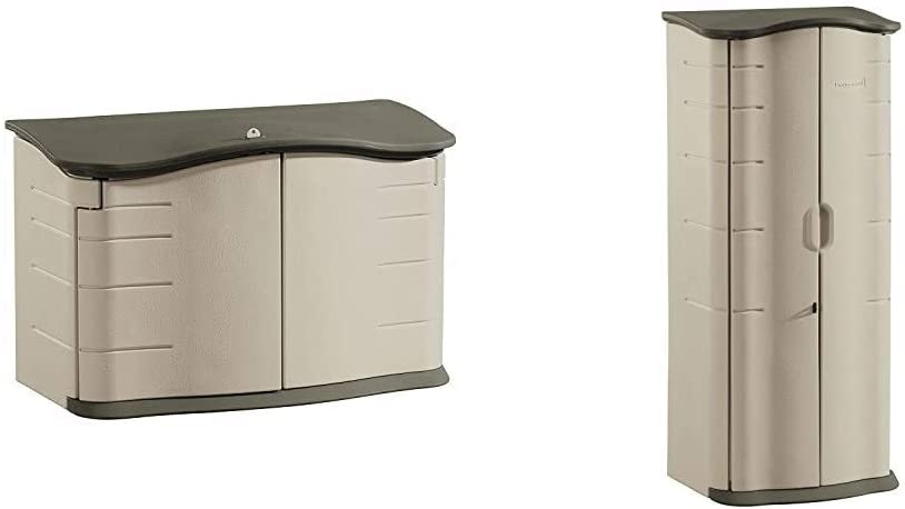 Rubbermaid Horizontal Storage Shed, Small & FG374901OLVSS Vertical Storage Shed, Small, Beige