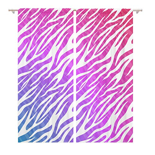 Tinmun 104 x 84 Inch Decorative Drapes Pink Neon Zebra Skin Stripes for Your Creativity Blue 2 Panels Window Curtains for Living Room Bedroom Printed