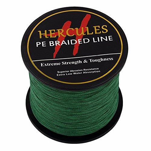 500m 547yds Green 6lbs-100lbs Hercules Pe Dyneema Braided Fishing Line 4 Strands (20lb/9.1kg 0.20mm) (6 Lb Weed)